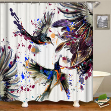 Ink painting Peacock Exhibition Fly Festive Printing Polyester Fabric Shower Curtain Waterproof Home Decoration