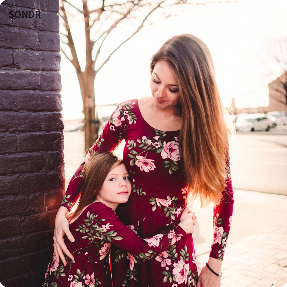 SONDR Mother And Daughter Dresses Wine Floral Party Long Dress Mom Daughter Dress Family Matching Clothes