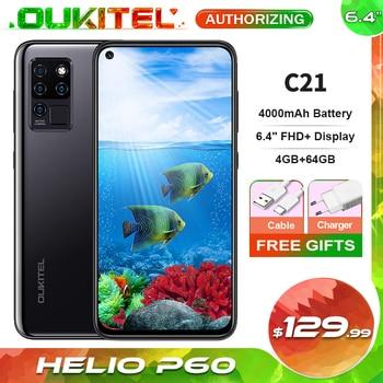 OUKITEL C21 6.4'' FHD+ Hole Punch Screen Mobile Phone 20MP Camera Helio P60 Octa Core 4GB 64GB 4G Smartphone 4000mAh 1