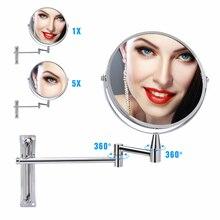1х/5X Увеличительное Зеркало для ванной комнаты выдвижное зеркало для макияжа настенное крепление 360 вращающееся регулируемое двустороннее косметическое зеркало для ванной
