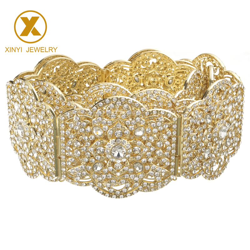 Full Crystal Morocco Cardigan Large Flower-shaped Belt Luxury Arabian Belly Chain For Women's Fashion Arabian Cardigan Jewelry Belt