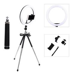 Photography LED Selfie Ring Light 26cm Dimmable Camera Phone Ring Lamp With Flexible Table Stand Tripod For Makeup Video Live