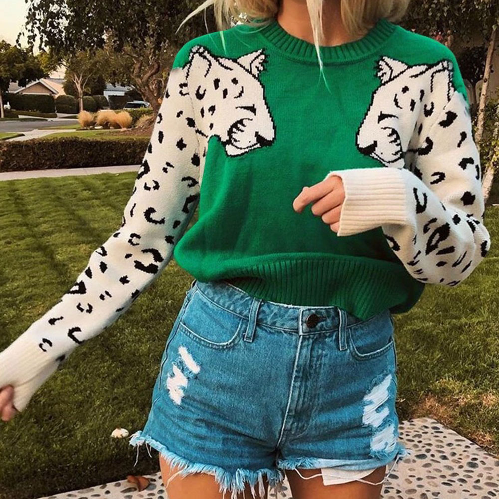 Fall Spring Women Long Sleeve Sweater Fashion Long Sleeve Pullover Leopard Print Round Neck Women Tops Lady Bold Color Sweaters