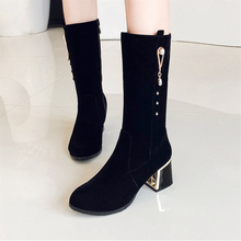 цена на Plus Size 34-43 New Fashion 2020 High Heels Women Boots Mid Calf Shoes Sexy Round Toe Winter Autumn Suede Zipper Woman Boots