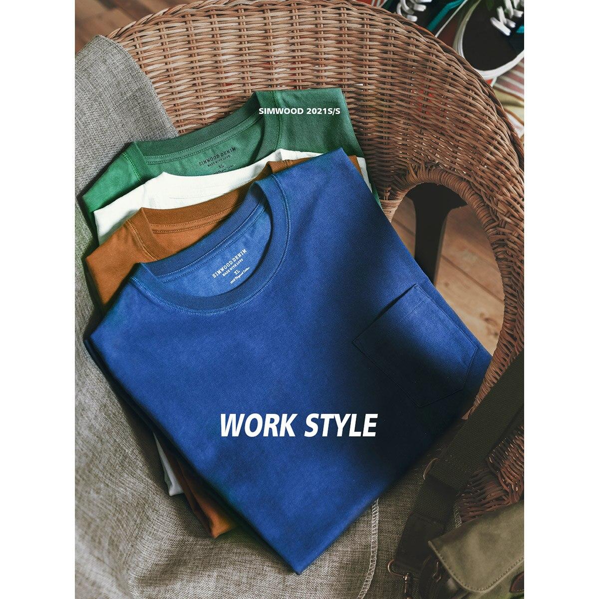 SIMWOOD 2021 летняя Новинка 240 г плотная ткань Футболка Мужская сплошной цвет свободный стиль размера плюс футболка высокое качество Топы|Футболки|   | АлиЭкспресс