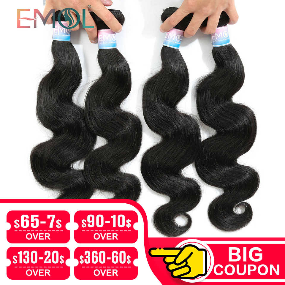 Emol Hair Body Wave Hair Bundles 100% Human Hair Weave Bundles Non-remy Brazilian Hair Bundles 1/3/4 Pieces/Lot