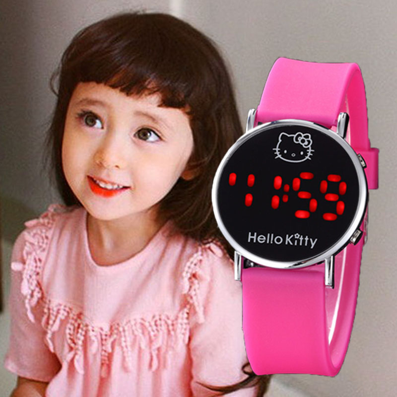 Kids Watches Girls Hello Kitty LED Children Watch Waterproof Watch Kids Girl Digital LED Clock Montre Enfant Fille Princesse