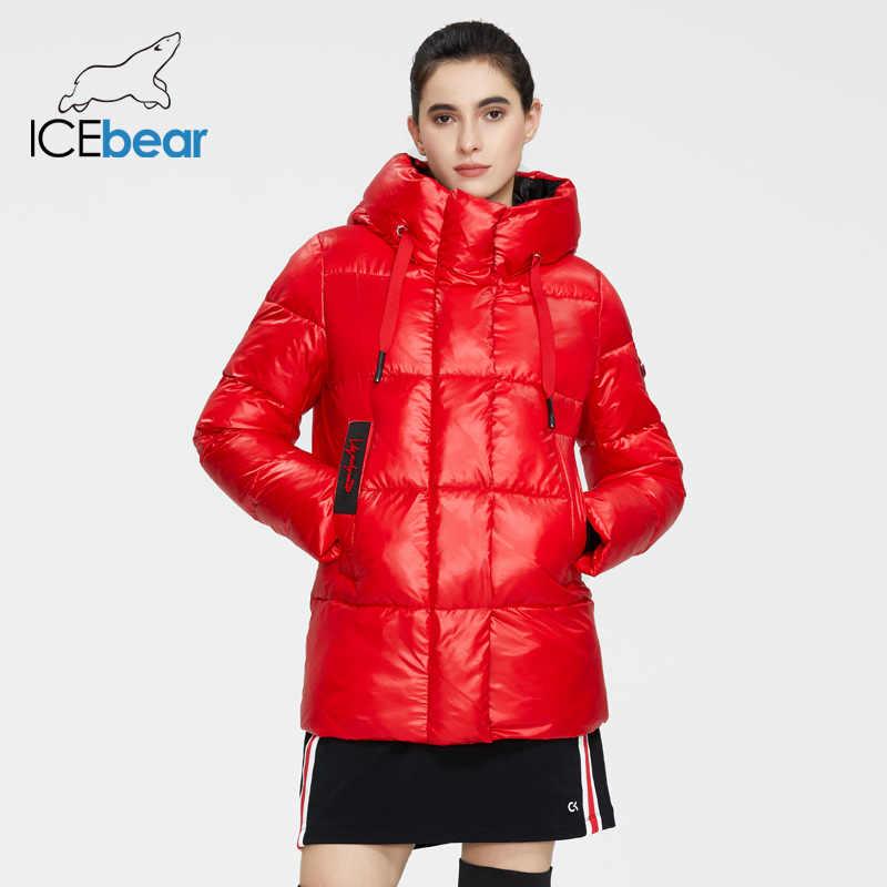 ICEbear 2020 새로운 겨울 자 켓 고품질 후드 코트 여성 패션 자 켓 겨울 따뜻한 여자 의류 캐주얼 파 카 GWD19502I