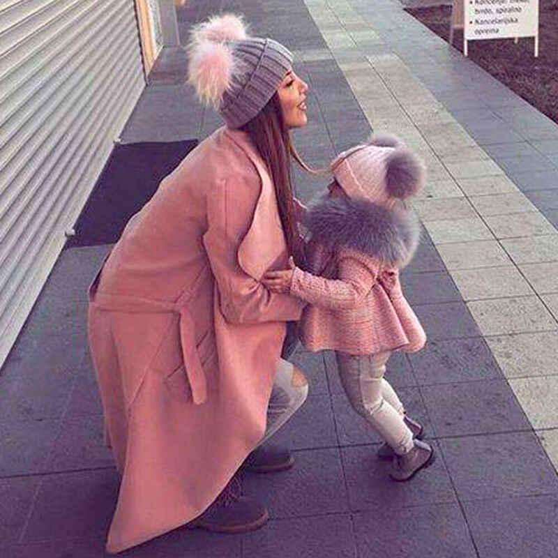 母ベビーキッズ娘息子の冬暖かい帽子家族かぎ針ビーニーキャップ