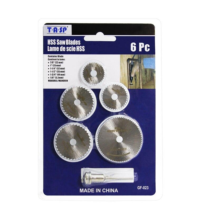 TASP-ensemble de lames de scie circulaire, Mini disque de coupe HSS, accessoires pour outils rotatifs pour Dremel, compatibles bois, plastique et aluminium, 6 pièces