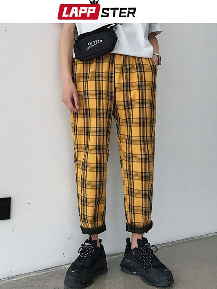 LAPPSTER Plaid Pants Men Joggers Streetwear Hip-Hop Yellow Straight Plus-Size Korean