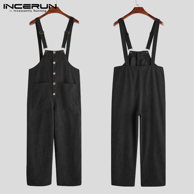 INCERUN 2020 Fashion Men Corduroy Jumpsuits Loose Solid Bib Pants Button Overalls Pockets Streetwear Casual Men Suspenders S-5XL