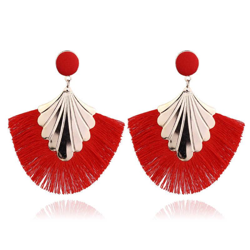 ใหม่ Bohemian Handmade Tassel ต่างหูผู้หญิง Vintage Long Drop ต่างหู Boho ผ้าฝ้ายเชือกสาน Fringe Sector เครื่องประดับ