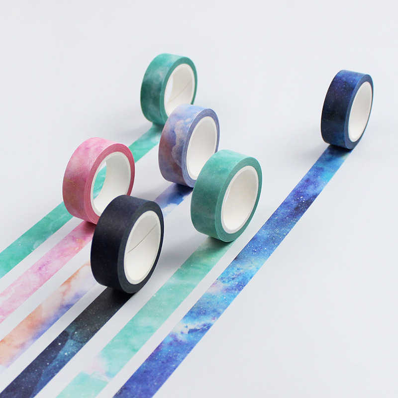 1 Pcs Galaxy Painting Washi Tape Masking Washi Tape Dekoratif Adhesive Tape Dekorasia Diy Scrapbooking Stiker Label Stationery
