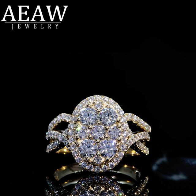 AEAW 7PCS Hot Sale New 2019 Luxury Jewelry 18k yellow gold Round Cut moissanite Diamond Women Wedding Band Ring Set For women