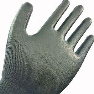 Image 3 - בטיחות מכונאי עבודה כפפות מצופה PU פאלם סרוג ניילון באיכות גבוהה אנטי להחליק לנשימה כפפת CE מוסמך EN388 4131X