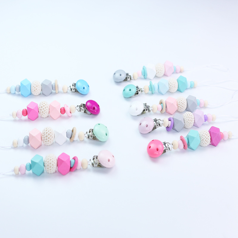 Maternal And Child Supplies Baby Nipple Chain Clip Teether Drop-preventing Chain Color Mixture Rhombus Colorful Beads Sub-Croche