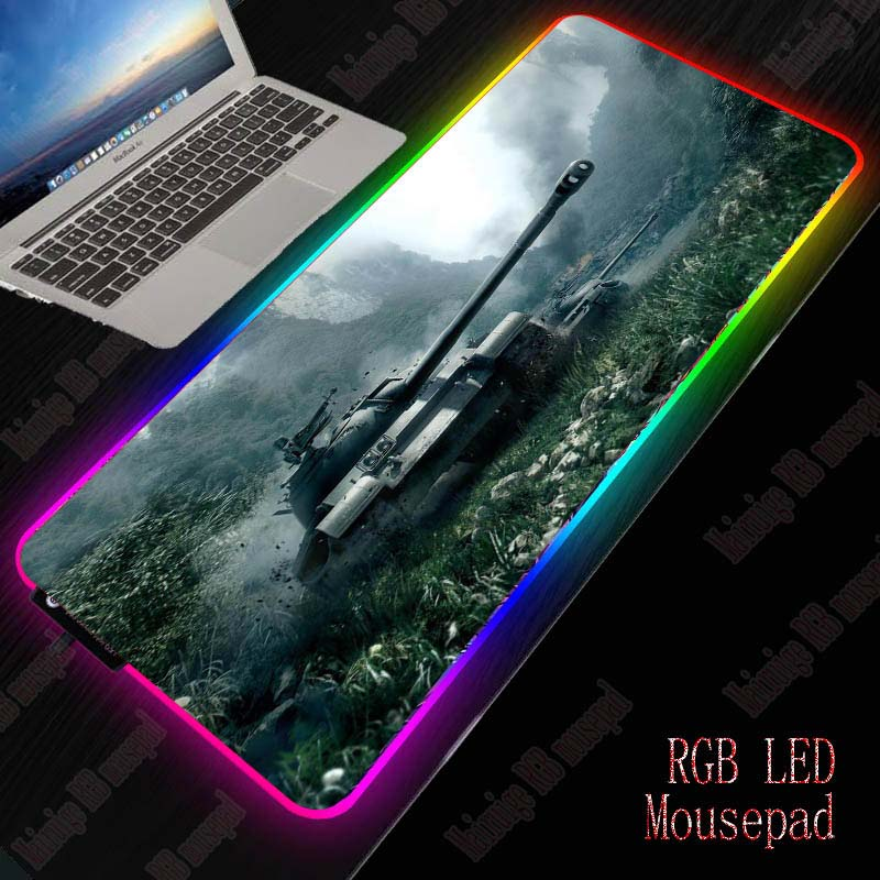 Mairuige World Of Tanks Large LED Light RGB Waterproof Gaming Mouse Pad USB Wired Gamer Mousepad Mice Mat 7 Colors For Computer