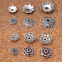 100 adet tibet gümüş çiçekli boncuk kapaklar tutucu 8mm 10mm 12mm Vintage el yapımı boncuk uç kapağı priz DIY takı bulguları