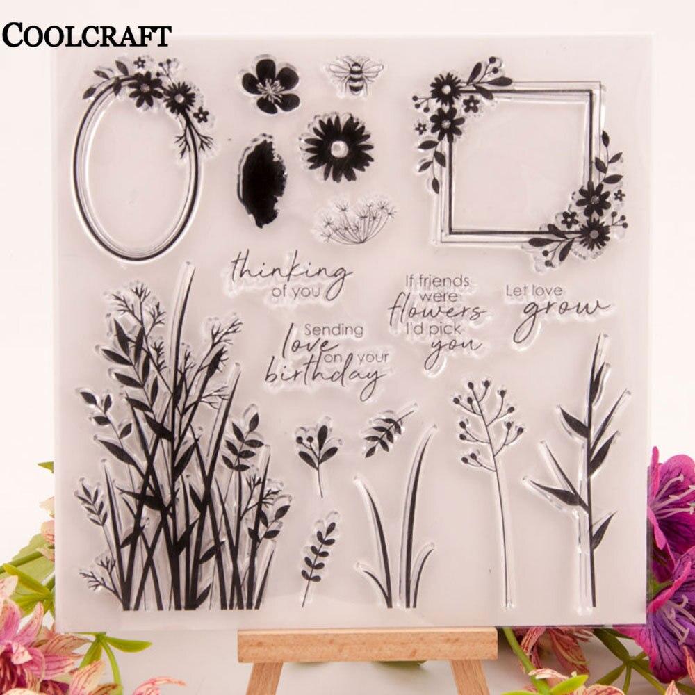 Timbres-poste transparents en Silicone, motif fleur dherbe, pour bricolage, Scrapbooking /Album décoratif, arrière-plan clair, nouveau, 2020