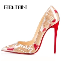 RIBETRINI Brand Print Pointed Toe Fake Leather Shoes Luxury Pumps Women 2019 High heels Sexy Wedding Party Women Shoes Woman