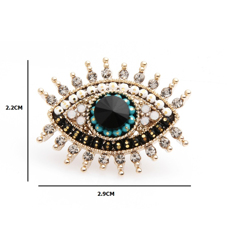Wuli baby Small Rhinestone Black Blue Eye Brooches Women Alloy Simulated Pearl Eye Collar Pins Gifts in Brooches from Jewelry Accessories