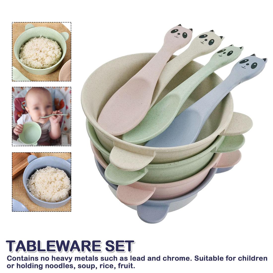 Cartoon Panda Bowl Spoon Wheat Straw Cutlery Set Baby Feeding Food Tableware Eco-Friendly Kids Training Tableware