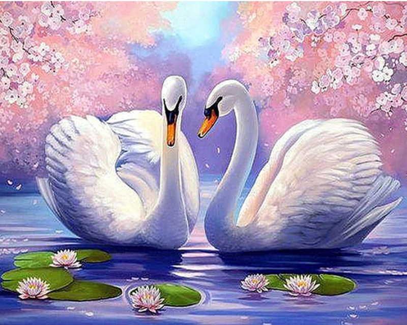 DIY 5D Diamond Painting Fairy Swan Embroidery Cross Crafts Stitch Home Decor