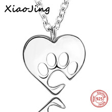 100% 925 sterling silver cute animal love heart dog footprint chain pendant&necklace diy fashion jewelry making for lover gifts rhinestone footprint cute pendant necklace
