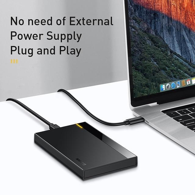 Baseus Caso HDD 2.5 SATA a USB 3.0 Adattatore Hard Disk Caso BOX E ALLOGGIAMENTI PER HDD Per SSD CASO di Tipo C 3.1 HDD box HD Esterno HDD Caddy 6