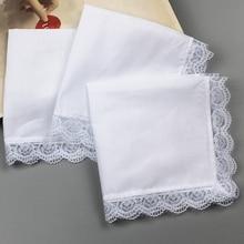 5x100% хлопок, белые носовые платки, Пустой Карман, квадратный носовой платок для мужчин и женщин, классические носовые платки с кружевной отделкой