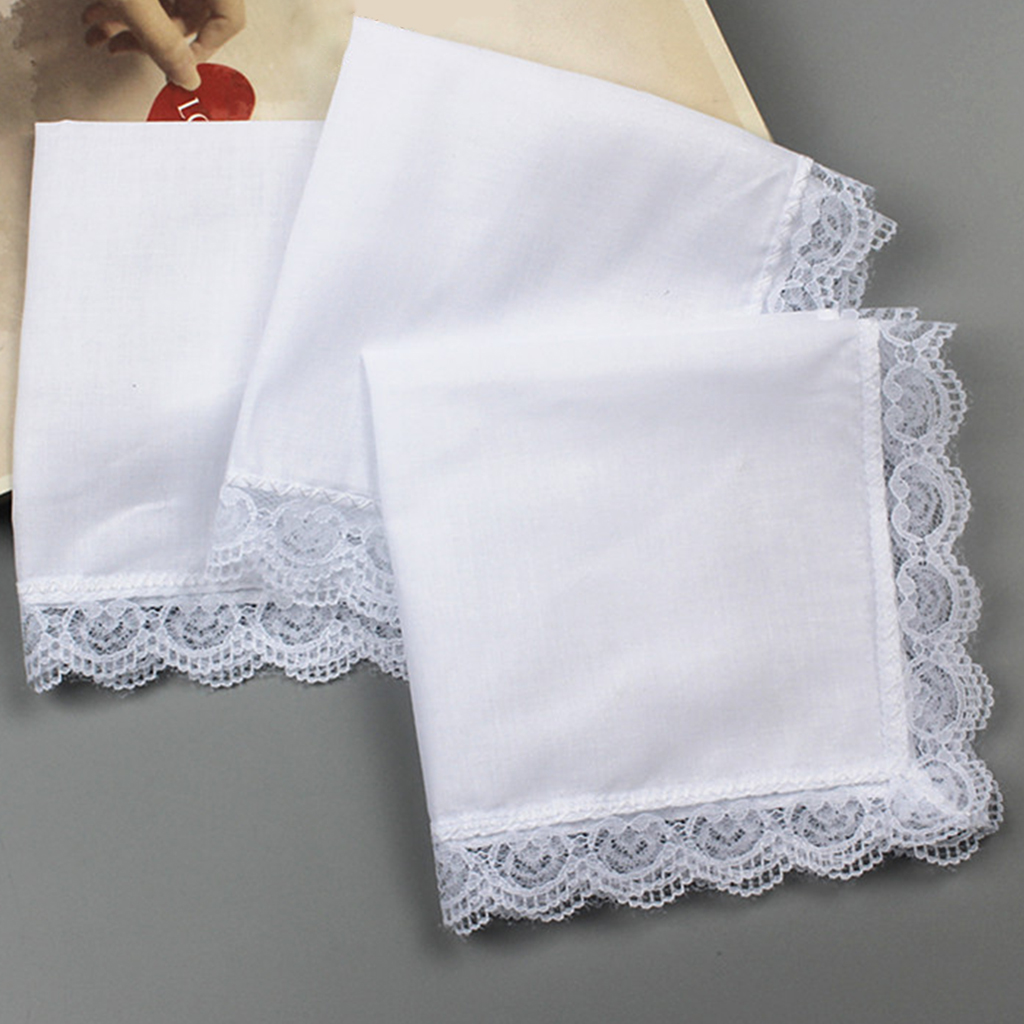 5x 100% Cotton White Handkerchiefs Blank Pocket Square Hanky  For Men Women Hankie Classic Hankies With Lace Trim