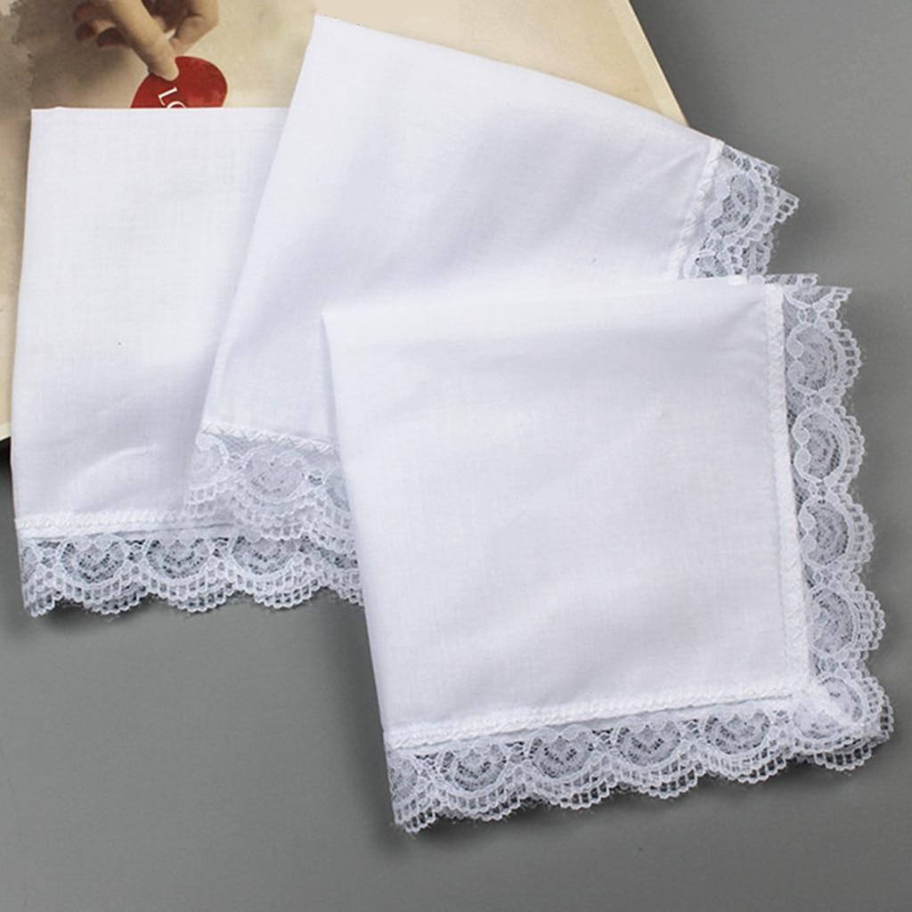 5x 100% Cotton White Handkerchiefs Blank Pocket Square Hanky  For Men Women Hankie Classic Hankies With Lace Trim