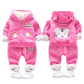 gusti children s sets 9512001 clothing for girls set dress winter clothes girl kids wear high quality Baby Girls Clothing Set Thick Plush Warm Clothing Sets For Boys Hoodies + Pants Kids Suit Winter Children Clothes