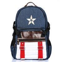 Student Satchel School Knapsack Big Capacity 5 Star Strip Captain America Shield Backpack Unisex School Bag Backpacks