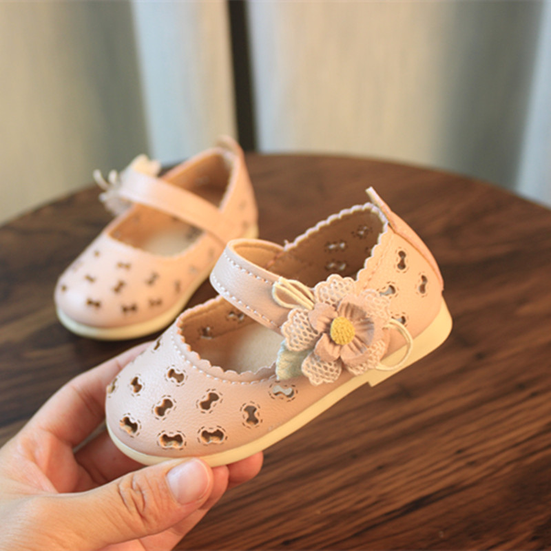 Baby Toddler Shoes Spring/summer Kids Sandals Leather Shoes Hollow Breathable Sandals Baby Girl Princess Shoes Flower Fashion