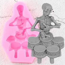 Skeleton Drum Silicone Molds Soap Fondant Mould DIY Halloween Cake Decorating Tools Candy Polymer Clay Chocolate Gumpaste Moulds(China)