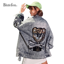 2019 Autumn beading denim jackets fashion hole women chic