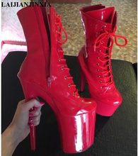 LAIJIANJINXIA stylowe Sexy rycerskich 8 cal wysoki obcas botki odpowiednie kobiety jesień zima buty 20 cm buty do tańca na rurze
