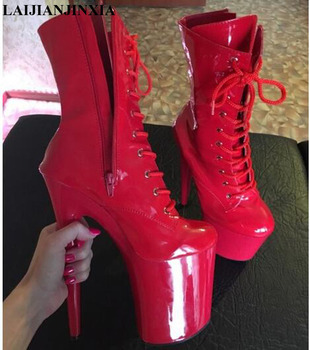 LAIJIANJINXIA Stylish Sexy knightly 8 inch High Heel Ankle Boots Suitable Women's Autumn Winter Shoes 20 cm pole dancing Boots image