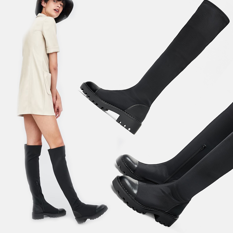 Slim Women Sock Boots Knee High Boots Stretch Fabric Round Toe Spring Autumn Long Boots for Girls Ladies Shoes Female Footwear