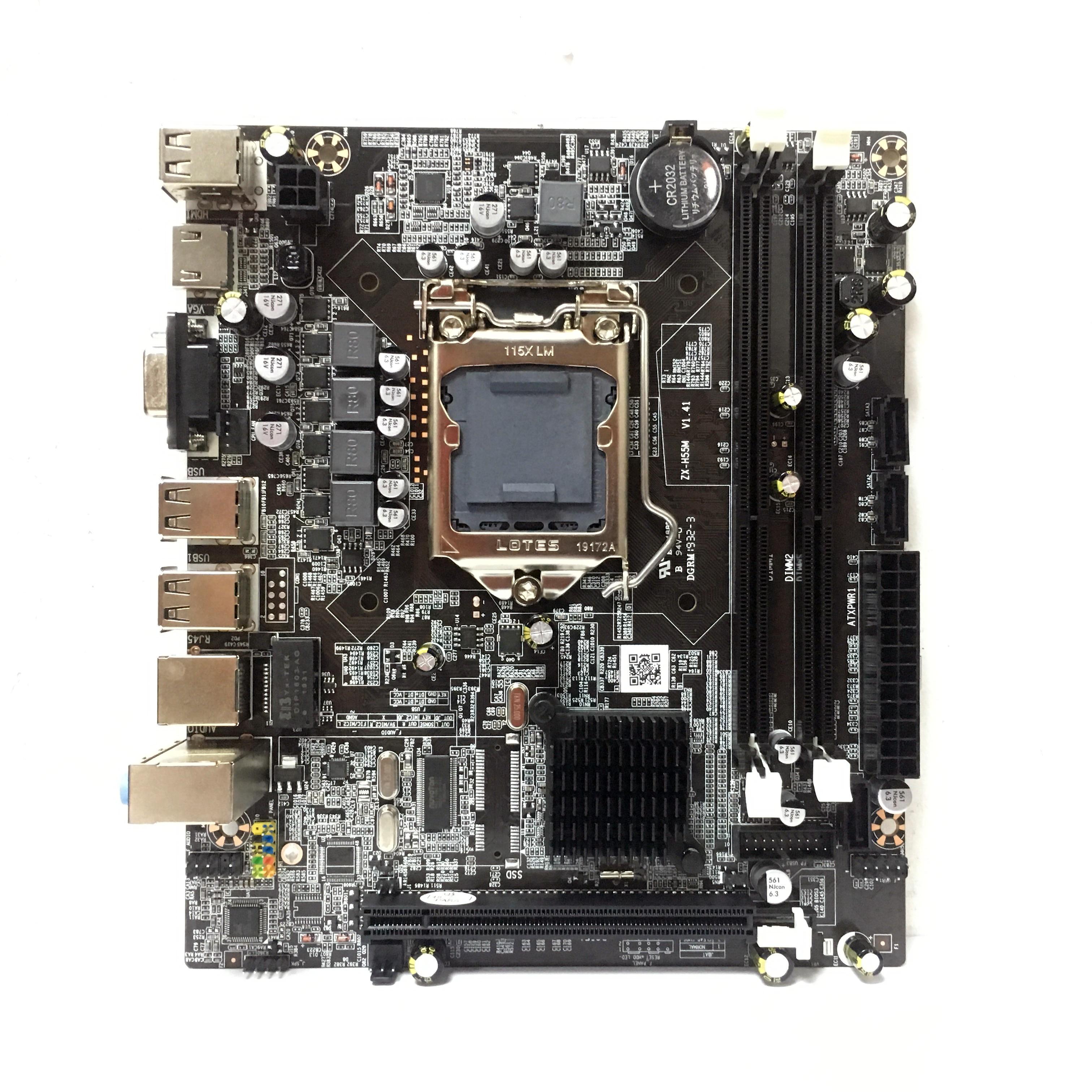 Intel Chipset  H55 PC LGA1156 Computer Desktop Motherboard DDR3 Double USB 2.0  LGA 1156 Motherboard