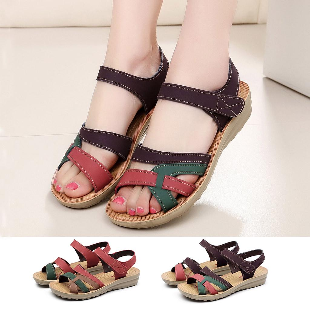 Women Leather Wedges Sandals Fashion Flat Hook & Loop Summer Beach Shoes Casual Open Toe Soft Bottom Comfort Sandals Ladies