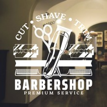 Barbershop Logo Vinyl Wall sticker cut shave trim salon  decor Window removable art mural Decals HJ268