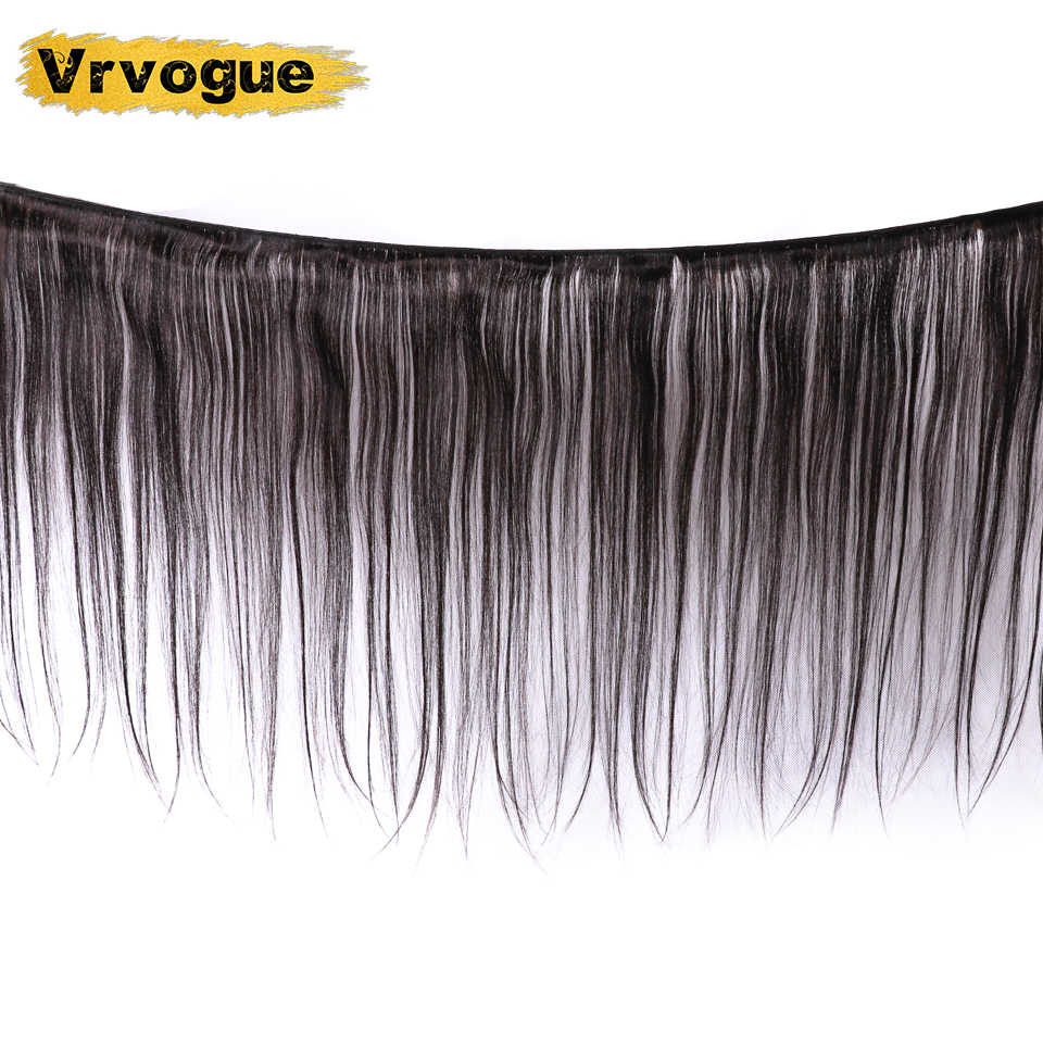 Vrvogue peruano feixes de cabelo reto com frontal cor natural do cabelo humano 3 pacotes com 13x4 fechamento frontal do laço remy cabelo