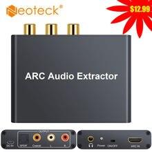 Neoteck extrator de áudio 5.1 arco, extrator de áudio dac spdif, extrator coaxial rca, entrada 3.5mm, saída digital para analógico