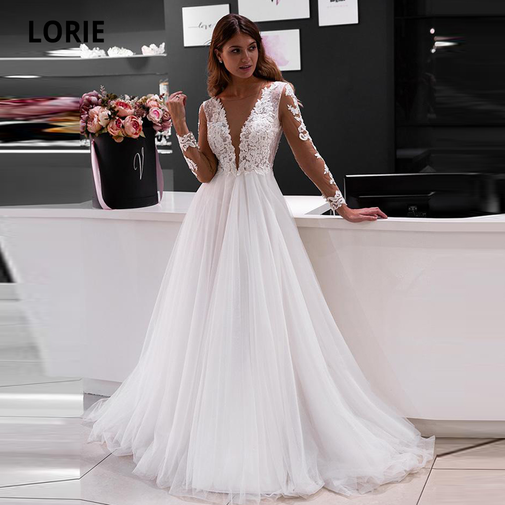 LORIE Elegant Lace Appliques Wedding Dresses Long Sleeve Bridal Gowns Boho V-neck Beach Wedding Gown Plus Size White Ivory Dress