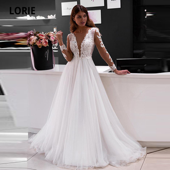 LORIE Elegant Lace Appliques Wedding Dresses long Sleeve Bridal Gowns Boho V-neck Beach Wedding Gown Plus Size White Ivory Dress lorie champagne tulle wedding dresses beach boho lace appliques bridal gown o neck illusion short sleeve vintage wedding gowns