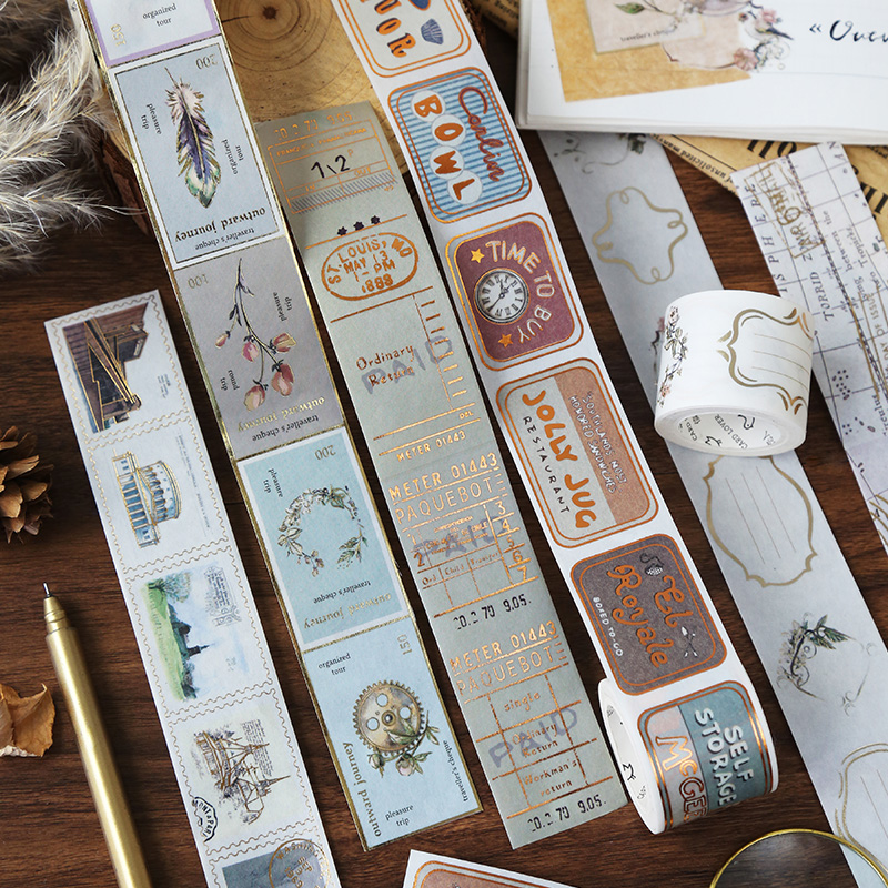 Foil Vintage Stamp Series European Flower,letters Decorative Adhesive Tape Masking Washi Tape DIY Travelling Records Tape