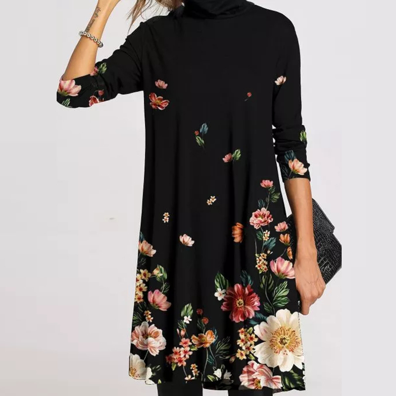 Women Dresses Print Floral Casual Autumn Long Sleeve O Neck Loose Plus Size Pattern Printed Vintage Dresses For Women S 5XL